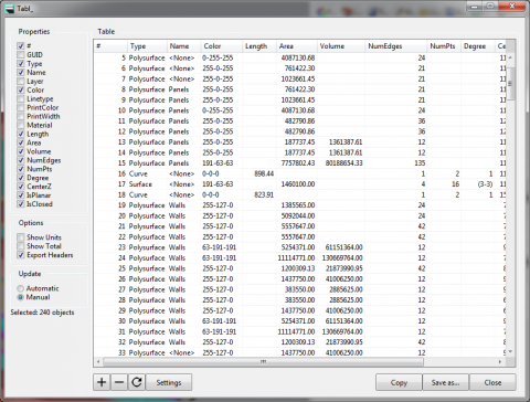 Tabl_ is a spreadsheet interface within Rhino for the viewing, editing, and exporting of object properties.