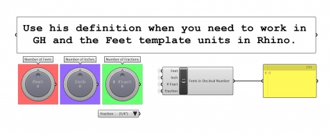 Use his definition when you need to work in GH and the Feet template units in Rhino.
