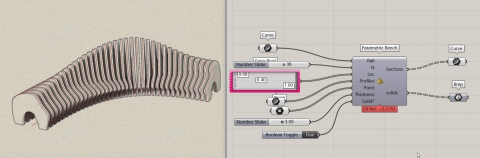 You can produce a parametric bench with two or more sections and a single path