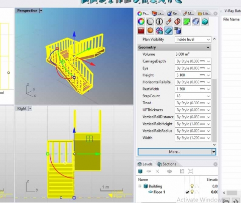 Parametric 2 hand stairs with 12 parametric value such as (height,tread,thickness,....) (you cant create this with standard stairs in VisualARQ)