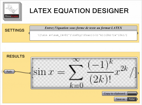 Mathematical formulas rendering from LATEX text user input and bitmap equation export