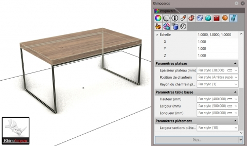 Parametric coffee table, metal base and wooden top