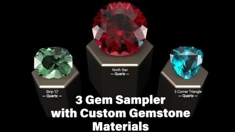 FREE 3 Gem Custom Cut Colored Gemstones and Custom V-Ray Next Materials Sampler