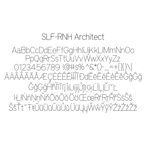 True type font that works in Rhino 6 and Rhino 7 software.