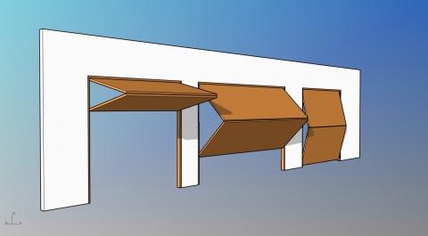 Parametric garage door with horizontal bi-fold leaves.