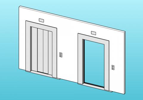 Parametric lift door with 4 sliding panels.