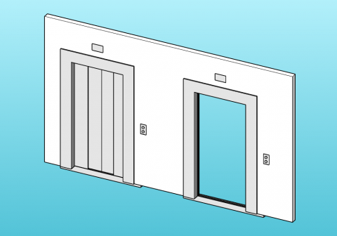 Parametric lift door with 4 sliding panels.
