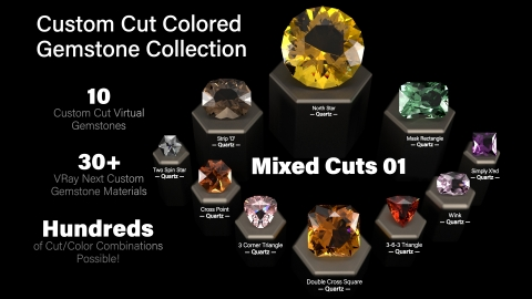 Mixed Cuts 01: A Collection of 10 custom cut virtual gemstones (native Rhino NURBS based closed polysurfaces) and 30+ custom V-Ray Next gem materials