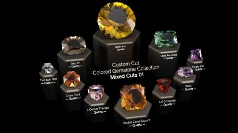 Mixed Cuts 01: A Collection of 10 custom cut virtual gemstones (native Rhino NURBS based closed polysurfaces) and 30+ custom V-Ray Next gem materials