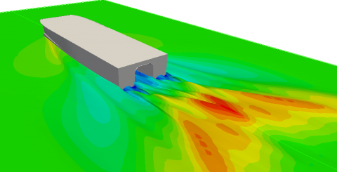 CFD simulation service specialized for ship hydrodynamics, primarily calm water resistance and self-propulsion.