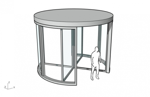 Parametric revolving door with 2, 3 or 4 wings
