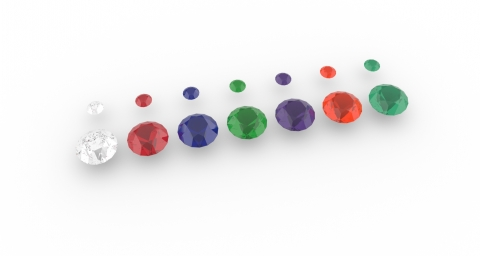 A gem collection in all NURBS solids with Materials assigned.