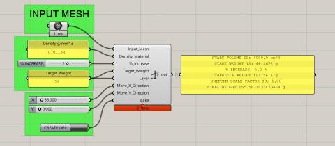 Little Plugin to let you scale a mesh object for manufacturing process, using an input material density and a final weight target.