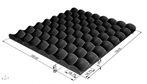 Modulo para parametrizar un patrón de superficie hiperbólica en una placa definida por su ancho, largo y espesor, y el numero de superficies replicada