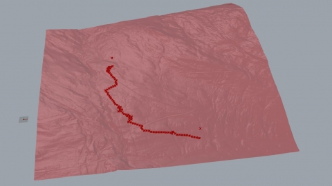 An existing definition I modified that finds the closest path between two points on a mesh according to slope
