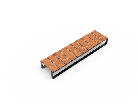 Bench made of wood lath and metal - Free
