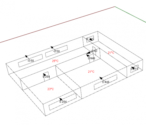 Set of components that can run simulations for infiltration, exfiltration, and room-to-room airflows in building systems, using Contam software (NIST)