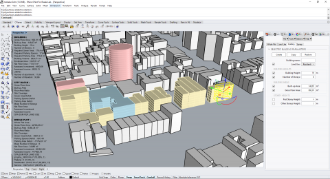 Modelur is a parametric urban design plugin for Rhino. Modelur allows you to quickly create, compare and evaluate different urban design alternatives.