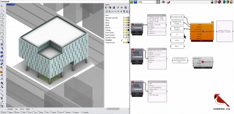 Cardinal LCA is an early-stage plug-in for Grasshopper to analyze the environmental impacts (GWP) caused by material decisions for any building.