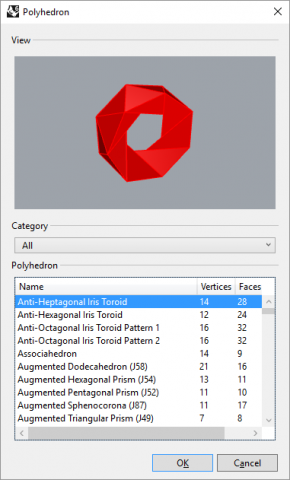 The RhinoPolyhedra plug-in for Rhino allow you to create over 650 different polyhedral shapes.