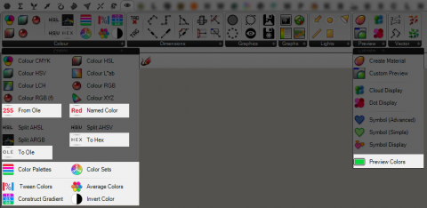 This plugin adds additional color options for Grasshopper 3d including new palettes, color theory sets, and color space conversions.