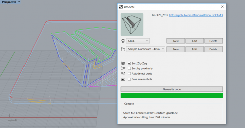 LinCAM3 plugin transforms Rhino 2D geometry into cutting paths for all types of g-code based CNC machines.