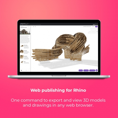 Free web publishing for Rhino. Create design reviews, tutorials, pinups and exhibitions in collaborative online studio spaces.