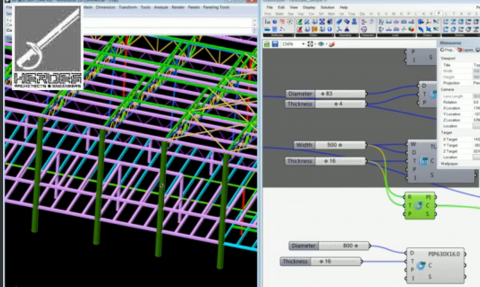 ParaStaad is a grasshopper plug-in for professional structural analysis & interoperability linking Rhino/Grasshopper with StaadPro.