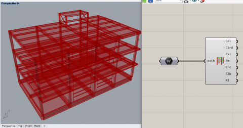 HoaryFox handles the Japanese structural BIM format ST-Bridge files. It supports model visualization and input/output of ST-Bridge files to Karamba3D.