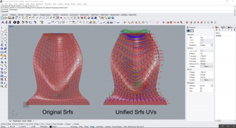 This component Unify Surfaces UVs based on a guide Surface. Developed by Spatial Holistic Assemblies Ltd. [SHA]