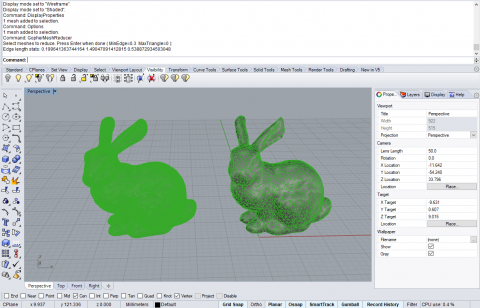 Gopher is a mesh Re-meshing / Reduction / Projecting plugin for Rhinoceros 3d