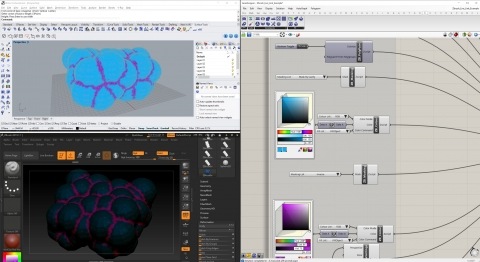 Chameleon creates a live link between Grasshopper and Zbrush to quickly exchange geometry and parametrically set up command sequences.