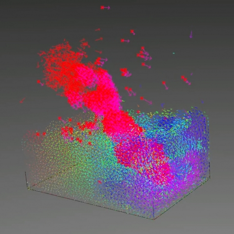 Fast GPU-based physics simulation in Grasshopper supports free particles, fluids, rigid bodies, soft bodies, cloth, inflatables and custom constraints