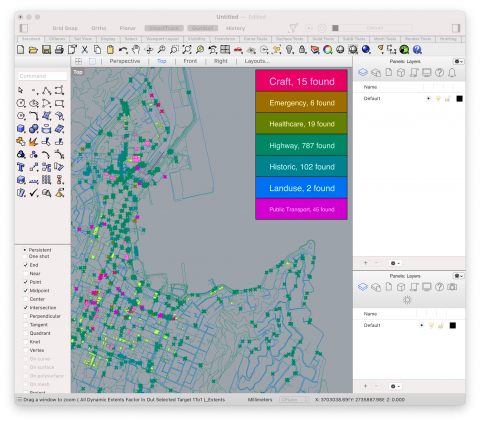 Caribou parses downloaded Open Street Map data into Grasshopper geometry. It is fast, flexible, and feature-rich.