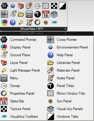 This utility allows you to hide or independently display Rhino toolbars, panels, and other interface elements to customize the Rhino interface.