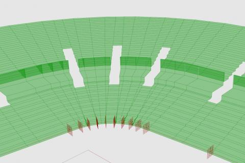 Generate stadium geometry and analyse view quality