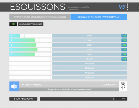 Esquissons is a Grasshopper plugin which help you to design with sound.  It sketches sound based on the sources and the geometries you declare !