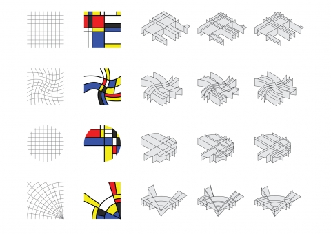 Mondrian inspired 2D composition & neo-plastic 3D form generator