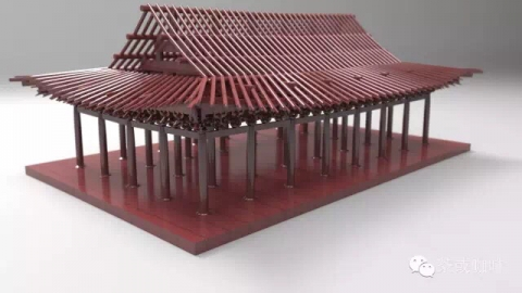 Generating the Chinese tradional architecture of wooden carpentry system conforming the regulations in Song Dynasty