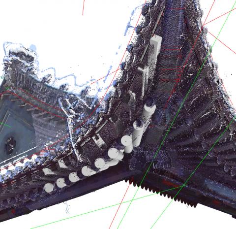 椽生成器Rafter Generator。根据点云描绘出椽头与椽脚的定位线,可直接生成檐椽与飞椽。Automatically generate Rafter and Small Rafter by profile curves which mapped from point cloud.