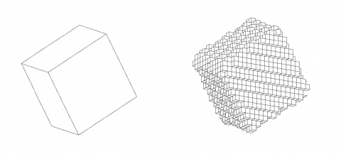 OctaTree voxelization algorithms to 1x1 cells, based on octree principle.