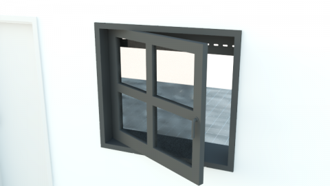 Window and door with handle and blind or slat blind.