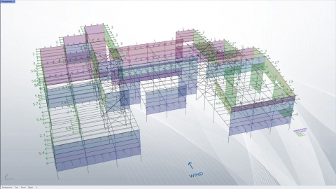 Wind load allocation for buildings from simple line