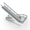 Generate a stair, based on a given polyCurve, height, step height, and width.