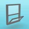 Simple window composed by 2 horizontal leaves, one fixed, other one that can open in different directions (swing, awning and hopper)